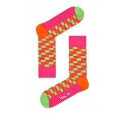 Ružovo-zelené ponožky Happy Socks so vzorom Filled Optic