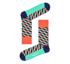 Tyrkysovo-korálové ponožky Happy Socks so vzorom Filled Optic