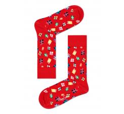 Červené ponožky Happy Socks s farebnými darčekmi, vzor Gift