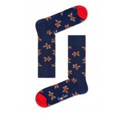 Modré ponožky Happy Socks s hnedými medovníčkami, vzor Ginger