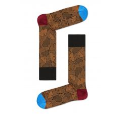 Hnedé ponožky Happy Socks, vzor Ginko // kolekcia Dressed