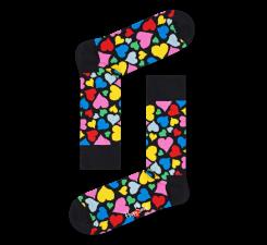 Čierne ponožky Happy Socks s farebnými srdcami, vzor Heart
