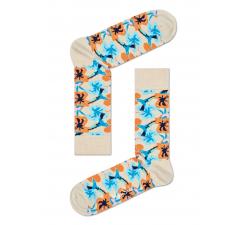 Béžové ponožky Happy Socks s farebnými kolibríkmi, vzor Hummingbird