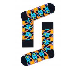 Modré ponožky Happy Socks s farebnými kolibríkmi, vzor Hummingbird