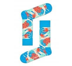 Modré ponožky Happy Socks s farebnými listami, vzor Jungle
