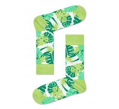 Zelené ponožky Happy Socks s farebnými listami, vzor Jungle