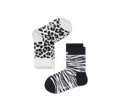 Detské čiernobiele ponožky Happy Socks, dva páry - Leopard a Zebra