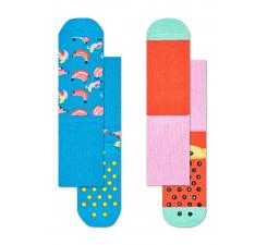 Detské protisklzové ponožky Happy Socks, dva páry – vzor Banana