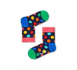 Detské tmavo modré ponožky Happy Socks s farebnými bodkami, vzor Big Dot