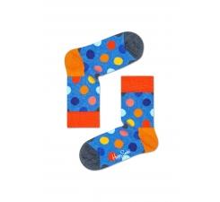 Detské modré ponožky Happy Socks s farebnými bodkami, vzor Big Dot