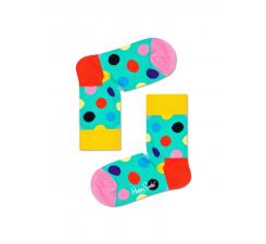 Detské tyrkysové ponožky Happy Socks s farebnými bodkami, vzor Big Dot