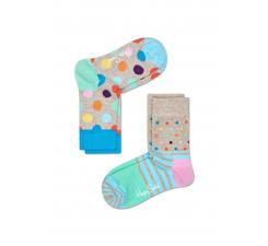 Detské farebné ponožky Happy Socks, dva páry – vzory Big Dot a Stripes and Dots