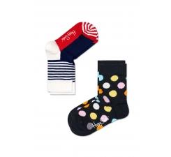 Detské farebné ponožky Happy Socks, dva páry – vzory Half Stripe a Big Dot