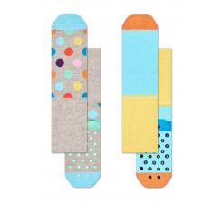 Detské farebné ponožky Happy Socks, dva páry – vzory Big Dot a Stripes