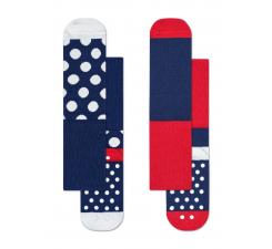 Detské modré protisklzové ponožky Happy Socks, dva páry – vzor Big Dot