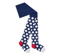 Detské modré pančuchy Happy Socks s bielymi bodkami, vzor Big Dot