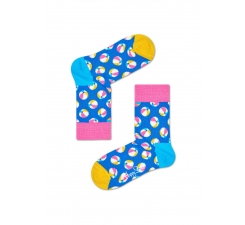 Detské modré ponožky Happy Socks s farebnými loptičkami, vzor Balls