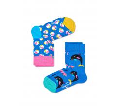 Detské farebné ponožky Happy Socks, dva páry – vzory Balls a Dolphins