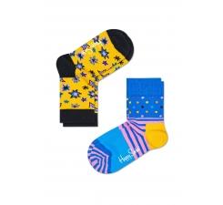 Detské farebné ponožky Happy Socks, dva páry – vzory Bang a Stripe Dot