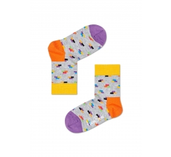 Detské sivé ponožky Happy Socks s farebnými tehlami, vzor Bricks