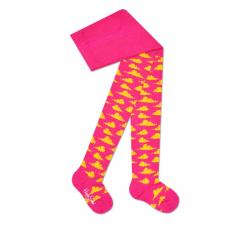 Detské ružové pančuchy Happy Socks so žltými mráčikmi, vzor Clouds