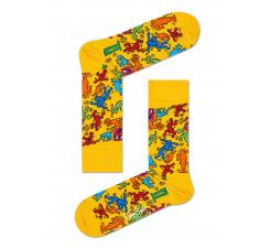 Žlté ponožky Happy Socks s farebnými panáčikmi, Valentine´s day X Keith Haring