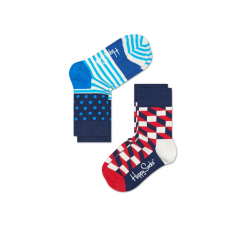 Detské farebné ponožky Happy Socks, dva páry – Half Stripes a Filled Optic