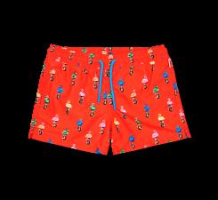 Detské oranžové plavky Happy Socks s plameniakmi, vzor Flamingo