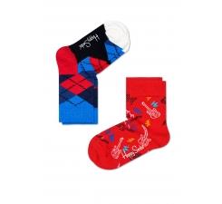 Detské farebné ponožky Happy Socks, dva páry – vzory Guitarra a Argyle