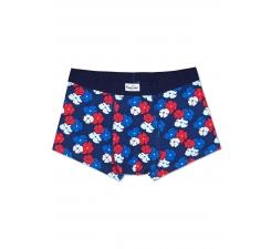 Modré boxerky Happy Socks s farebnými kvetinami, vzor Kimono