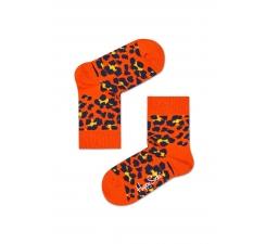 Detské červené ponožky Happy Socks s čierno-žltým vzorom Leopard