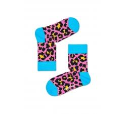 Detské ružové ponožky Happy Socks s farebným vzorom Leopard