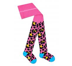 Detské ružové pančuchy Happy Socks s farebným vzorom Leopard