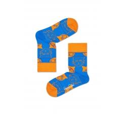 Detské modré ponožky Happy Socks s oranžovými mačkami, vzor Cat
