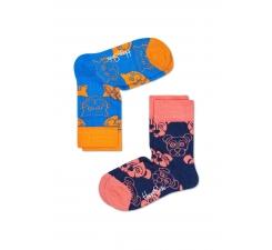 Dětské barevné ponožky Happy Socks, dva páry – vzory Cat a Dog