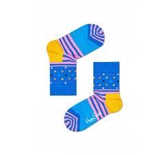 Detské modré ponožky Happy Socks s farebným vzorom Stripe Dot