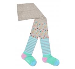 Detské béžové pančuchy Happy Socks, farebný vzor Stripe Dot