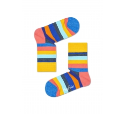 Detské žlté ponožky Happy Socks s farebými pruhmi, vzor Stripe