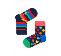 Detské farebné ponožky Happy Socks, dva páry – Stripes a Big Dot