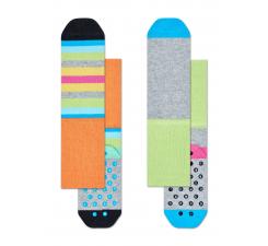 Detské farebné protisklzové ponožky Happy Socks, dva páry – vzor Stripes