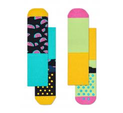 Detské farebné protisklzové ponožky Happy Socks, dva páry – vzor Watermelon