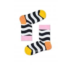 Detské čierno-biele ponožky Happy Socks s vlnkami, vzor Wavy