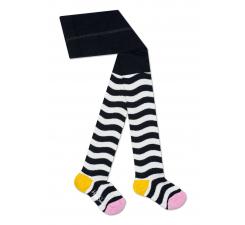 Detské čierno-biele pančuchy Happy Socks so vzorom Wavy