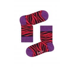 Detské červené ponožky Happy Socks so vzorom zebry, vzor Zebra