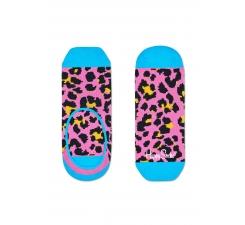 Ružové nízké vykrojené ponožky Happy Socks s farebným vzorom Leopard