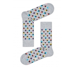 Sivé ponožky Happy Socks s farebnými kosoštvorčekami, vzor Mini Diamond