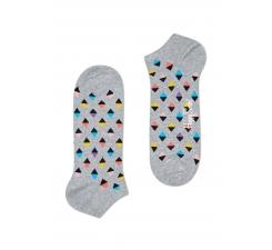 Nízke šedé ponožky Happy Socks s farebnými kosoštvorčekami, vzor Mini Diamond