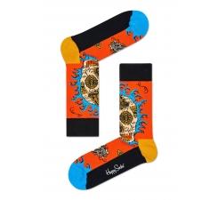 Oranžové ponožky Happy Socks s farebným vzorom Leaf Skull x Megan Massacre