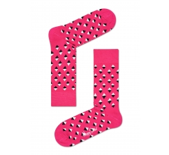 Ružove ponožky Happy Socks s farebnými kosoštvorčekami, vzor Mini Diamond
