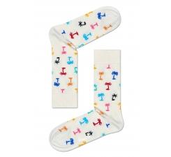 Biele ponožky Happy Socks s farebnými palmami, vzor Palm Beach